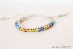 One Dog Woof: Crochet Beaded Friendship Bracelet -  #diy #pattern #crochet #friendship #friendship_bracelet