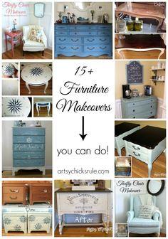 15+ Furniture Makeovers - artsychicksrule.com #thrifty #makeover #chalkpaint #polyshades #diy
