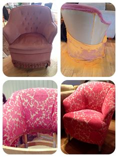 Upholstered chair. Pink fabric.