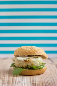 Fish burger with wasabi & lemon sauce #Food #Recipe #Delicious