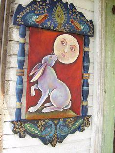 FoLk  ArT  Rabbit Moon Painting on an Antique by mermaidmessenger