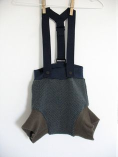 Wool Soaker Cloth Diaper Cover with suspenders  If I had a boy I would be all over this, cute!