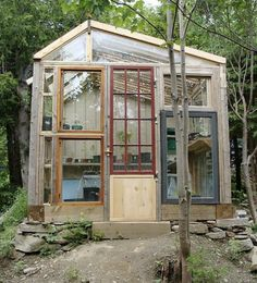 potting sheds from salvage   DIY Greenhouses, Build A Green House From Windows, Doors and A Little ...