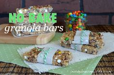 Easy no bake granola bars filled with marshmallows, peanuts, candy, and chocolate chips.  #nobakes #granola