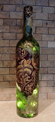 Wine Bottle Light, Wine Bottle Lamp, Decorative Wine Bottle, Lokta Paper Decoupage Art, Glass Bottle Light
