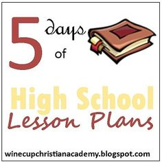 Literature - 5 Days of High School Lesson Plans