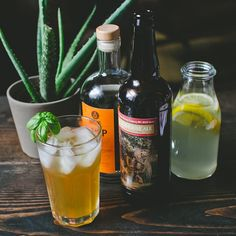 The Farmhouse Shandy: 2pts SNAP, 2pts Smuttynose Farmhouse Ale, 2pts Lemonade, Lime squeeze, Basil garnish