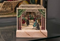 """""""The Library,"""" a tunnel book from about 1730 with hand-colored intaglio illustrations."""