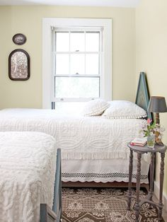 I like the bed layout! Maine Country Cottage Decorating - Ideas for Country Cottage Decor - Country Living