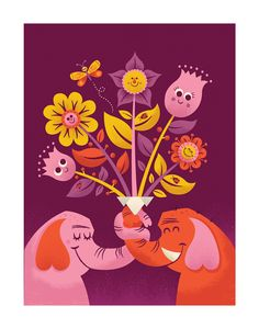 Flower Friends by Tad Carpenter. A print for Heartwork, where all proceeds go to Target House for children's art supplies.