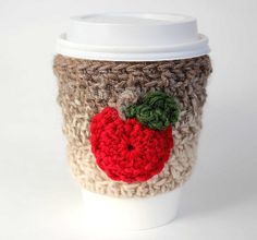Apple travel mug cup cozy coffee crochet natural by CageFreeFibers