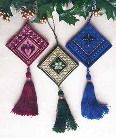 """The Jewel Box Club is a series of four patterns, each with three birthstone #ornaments.  Club 3 showcases July, August, and September.  You begin with a 7"""" x 10"""" piece of 18-count canvas.   #canvaswork #needlepoint #Christmas #stitching #needlework #embroidery"""
