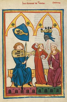 Codex Manesse, UB Heidelberg, Cod. Pal. germ. 848, fol. 312r: Reinmar der Fiedler/Meister der Manessischen Liederhandschrift/ Domínio Público