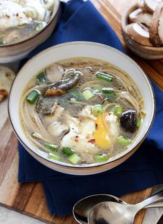 Healthy Mushroom + Chicken Noodle Soup with Poached Eggs | howsweeteats.com