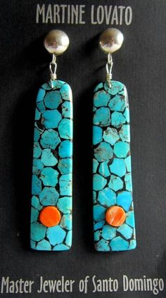 SUMPTUOUS Kingman Turquoise/Spiny Oyster earrings by Master Martine Lovato
