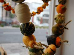 Make a #fall garland with small gourds and pumpkins #FallDIY ~ @bystephanielynn