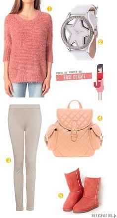 LOOK | Le Rose Corail se porte du Pull aux Bottes fourrées | femme  | Blog Mode | Rien à se Mettre  www.rienasemettre.fr