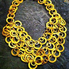"ROX 3-Strand Indonesian Brass Necklace 22"" $450"