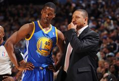 Coach Mark Jackson and Harrison Barnes #40