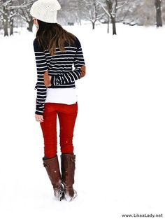 Cute fall/winter outfit - Red jeans with navy striped sweater and boots