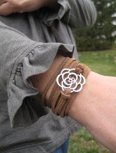 Leather Wrap bracelet, silver flower charm, brown leather wrap bracelet
