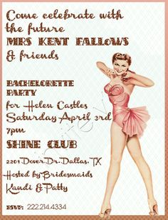 pin up girl bachelorette party invitations- LOVE it! Think i found the bachelorette theme...