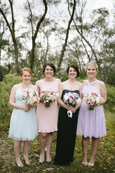 Colorful Bridesmaids -- On Style Me Pretty: http://www.StyleMePretty.com/australia-weddings/victoria-au/melbourne/2014/02/19/colorful-melbourne-wedding-at-the-boyd-baker-house/ Love Katie + Sarah