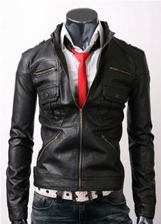handmade Zip Pocket Black Leather Jacket men black by ukmerchant,