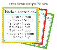 FREE printable Kitchen Conversion Chart via Plucky Momo - these are useful.