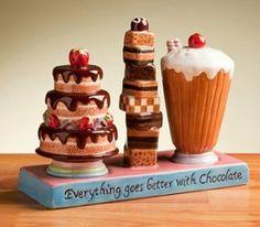 Amazon.com: Chocoholic Salt & Pepper Shakers Set With Tray Ceramic: Kitchen & Dining