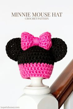 Newborn Minnie Mouse Inspired Hat Crochet Pattern via Hopeful Honey