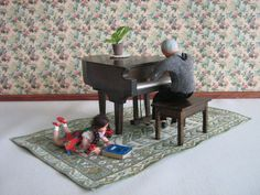VTG Doll House Furniture  Solid Wood Baby Grand Piano by TheToyBox, $20.00