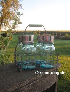Mason Jar Solar Lights in Antique Dairy, the ORIGINAL Mason Jar Solar Light Design by treasureagain http://etsy.me/1jLsY41