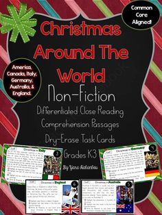 Christmas Around The World 6 Countries Non-Fiction Reading K-3 from SeaofKnowledge on TeachersNotebook.com -  (29 pages)  - Christmas Around The World Reading Comprehension Task Cards: Take a trip around the world reading all about Christmas! This pack would make a good addition to your unit during November/December. I cre
