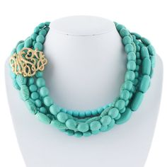 MonogramTurquoise Necklace Beadwork Necklace by BellaJewelry4u, $24.99<<<WANT!!