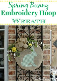 Our Southern Home | Bunny Hoop Wreath and Swing Into Spring Party | http://www.oursouthernhomesc.com  #silhouettecameo #springwreath #diycrafts