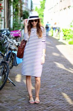 dress tutorials, summer hat, the dress, shift dresses, stripe dress