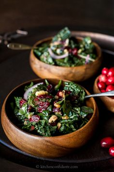 Simple Sundays | Cranberry Walnut Kale Salad with Fresh Cranberry Vinaigrette - Kitchen Confidante