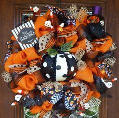 Orange Burlap Happy Halloween Wreath with POLKA DOT by decoglitz
