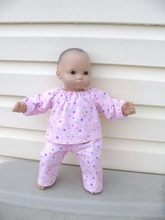 Doll Clothes for Bitty Baby Bitty Twin or Some Other 15 Inch Dolls, Pale Pink Colorful Polka Dot Pajamas