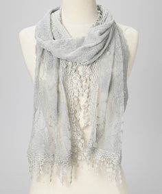 Take a look at this Light Gray Embroidered Lace Fringe Scarf by Vintage Inspired: Women's Scarves on @zulily today!