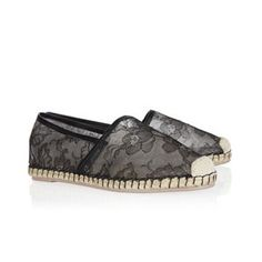 Valentino / Leather and lace espadrilles. We saw these gorgeous Valentino espadrilles on the catwalk and we loved them. They are comfortable but the floral lace adds some laid-back glamour. Price: 340 €