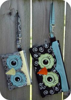 Owl Wristlets - made in the hoop machine embroidery designs