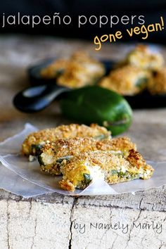 Jalapeno Poppers by Namely Marly #vegan #appetizer     Anyone know where to find vegan cream cheese?
