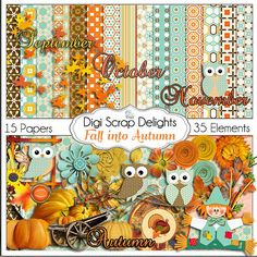 Fall into Autumn Owls Scrapbook Kit Owl by DigiScrapDelights,  #autumn #fall  #owls #orange #teal #red #brown