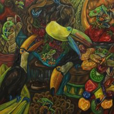 "Honorable Mention - Artist: Jody Allen Title: ""Fruit Loop"" Medium: oil on panel Size: 22""x22"""