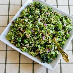 I loved this Sweet and Sour Broccoli Salad for years, but when I discovered the trick of chopping the broccoli much smaller, it rocked my world! [from Kalyn's Kitchen] #FavoriteSalad #SummerSalad #LowCarb #GlutenFree
