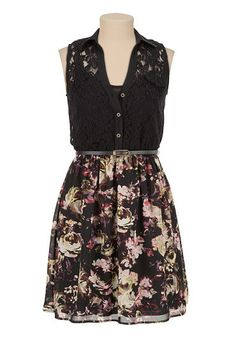Belted Lace Top Floral Skirt Shirtdress (original price, $44) available at #Maurices
