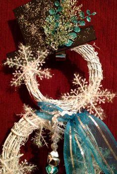 Winter Teal Blue Snowman Wreath