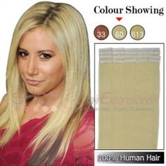 22 Inch 20pcs Tape Grade AAA Remy Human Hair Extensions Straight (#60 Platium Blonde)